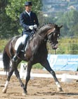 dressage horse and rider competing