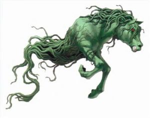 Illustrated green horse made up from kelp
