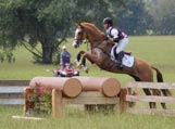 eventing horse and rider, jumping a cross country jump during competition.